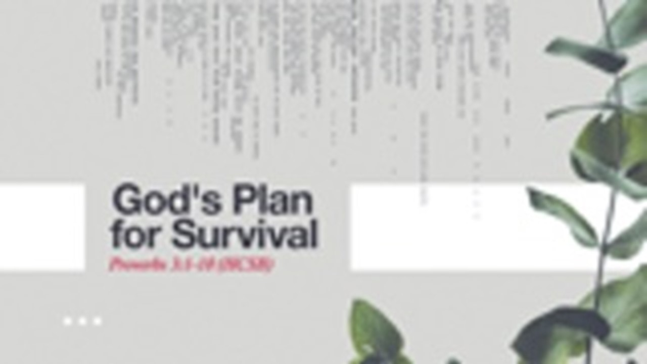 God's Plan For Survival Rev. Dr. Willie E. Robinson